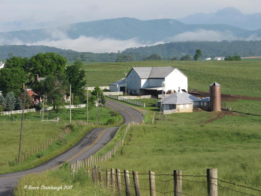Shenandoah Valley, fog, farm scene