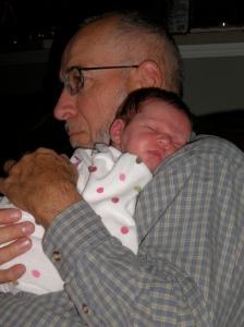 infant, grandfather, grandchild