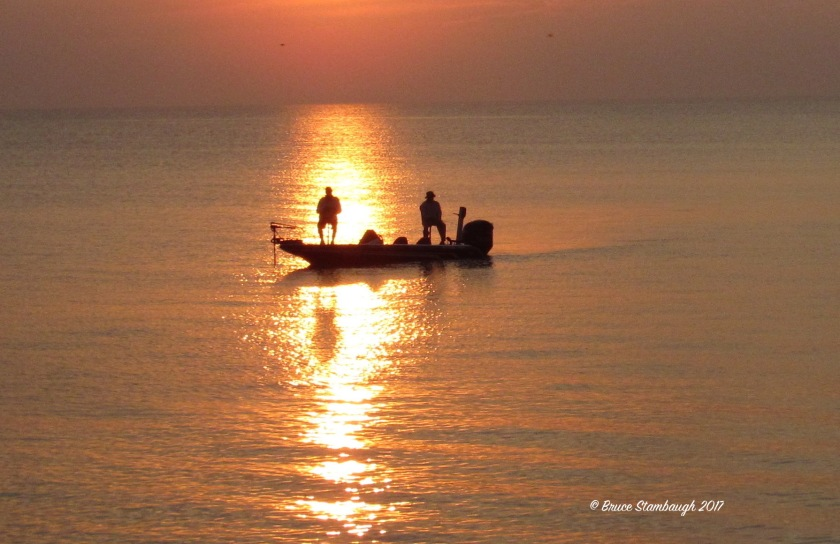 Lake Erie fishing, fishing at dawn