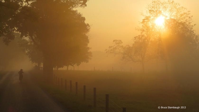 Amish boy on bike, foggy morning