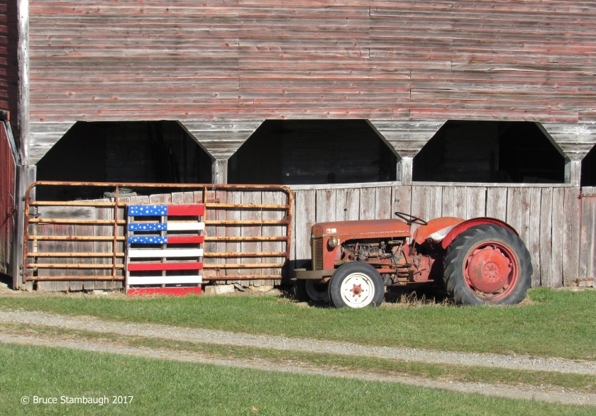 WV farm, antique tractor, American Flag