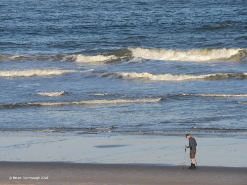old man walking the beach, Main Beach Fernandina FL