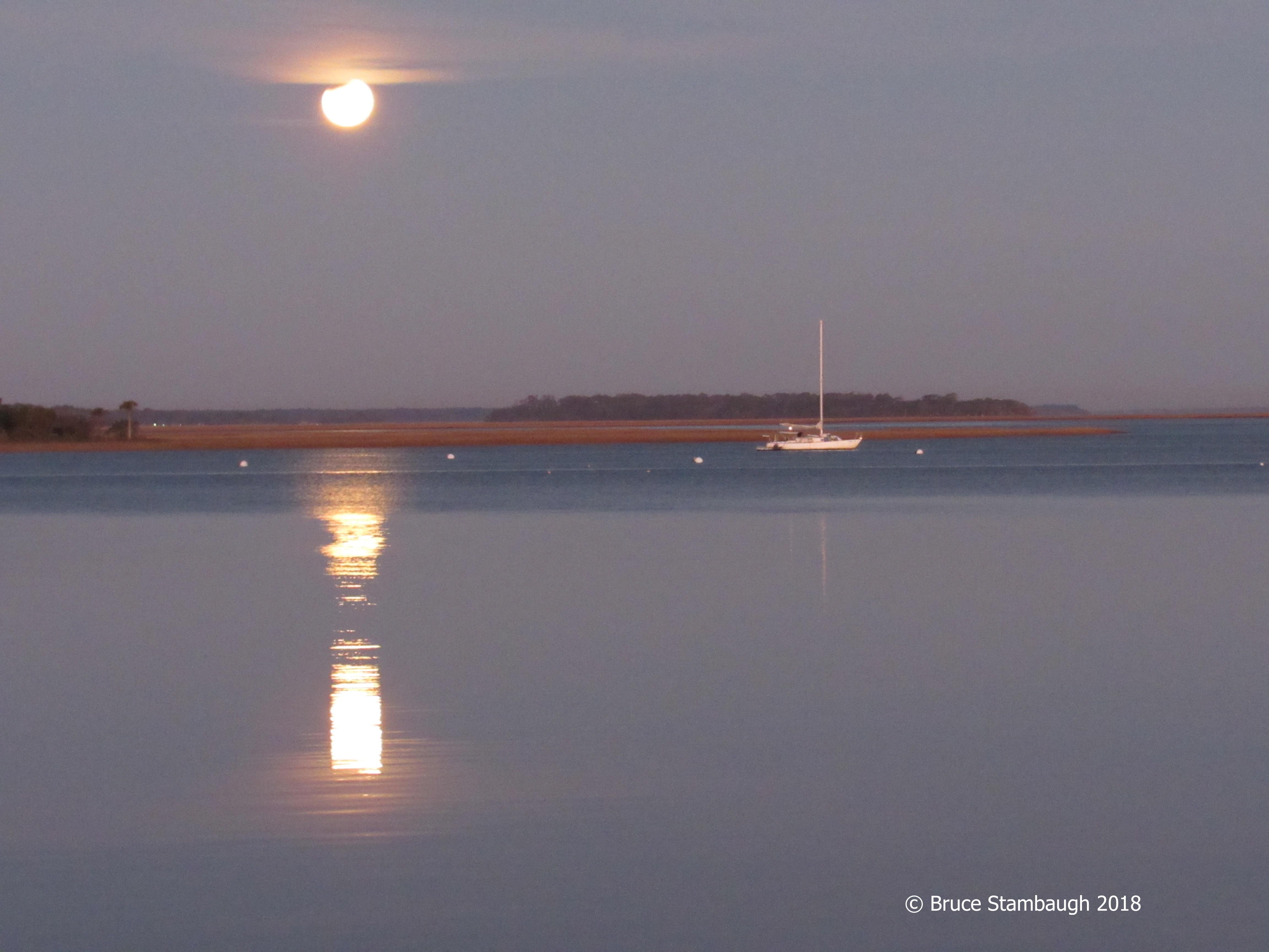 blue moon, eclipse, Amelia Island FL
