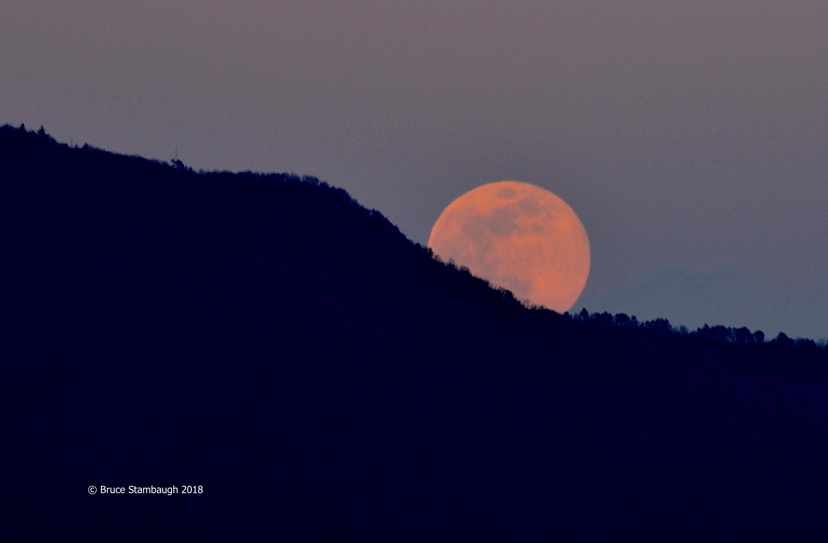 pink moon, full moon, Harrisonburg VA