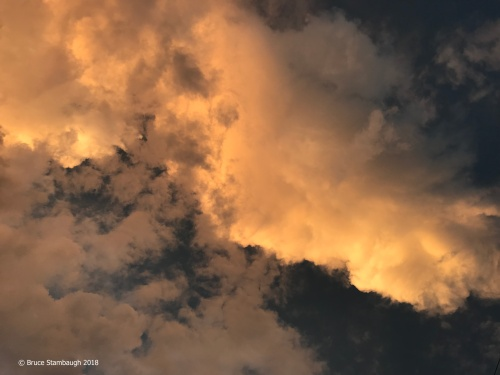 overhead clouds, sunset, Shenandoah Valley