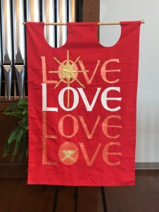 Love Advent banner, Park View Mennonite Church, Harrisonburg VA