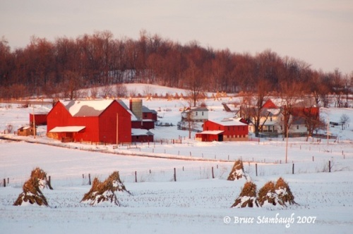 Amish farm, Holmes Co. OH, Ohio's Amish country, snowscape